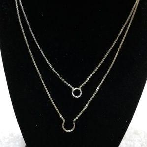 Silver Tone 2 strand Necklace Horse Shoe circle